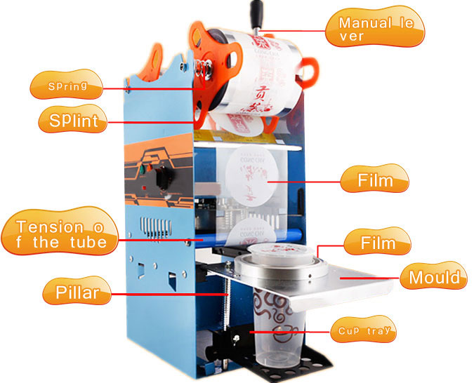 Manual Bubble Tea Cup Sealer Machine Structures