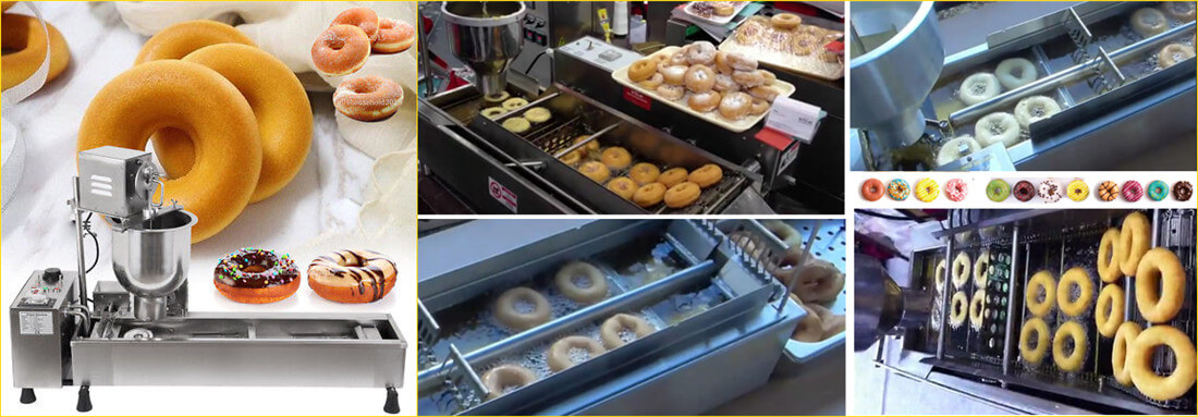 frying donuts by automatic donut making machine