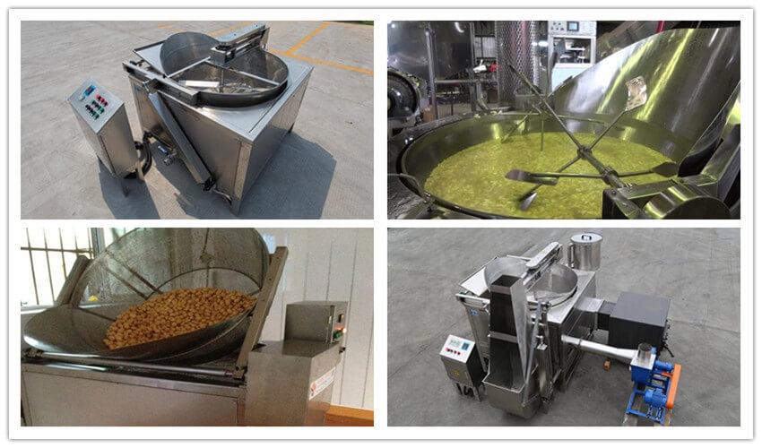garlic chips frying machine