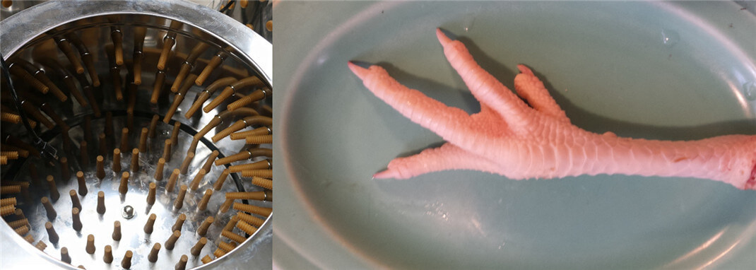high peeling efficiency of chicken feet skin removing machine