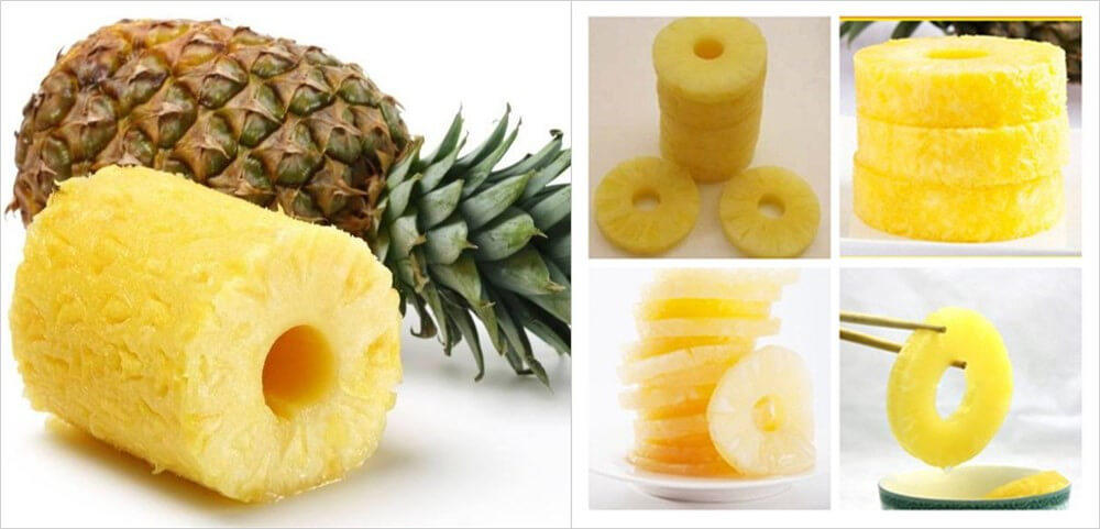 peeled and cored pineapple