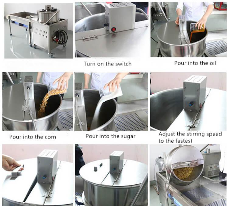 working process of automatic popcorn machine