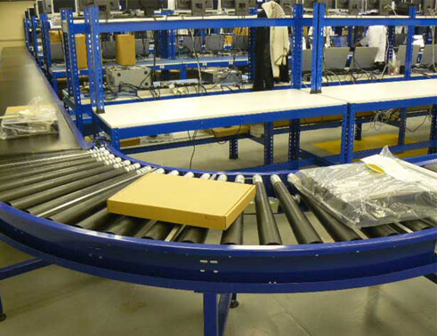 curve roller conveyor application
